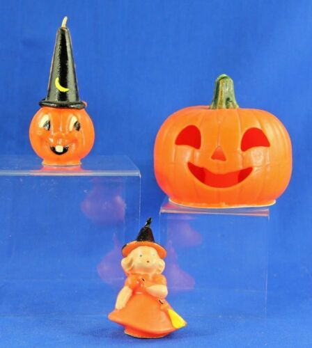 VINTAGE HALLOWEEN CANDLE LOT OF 3 GURLEY AND OTHERS