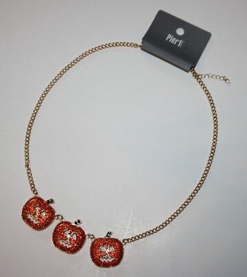 Pier 1 Imports Necklace Orange Rhinestone Pumpkin Halloween Thanksgiving NWT
