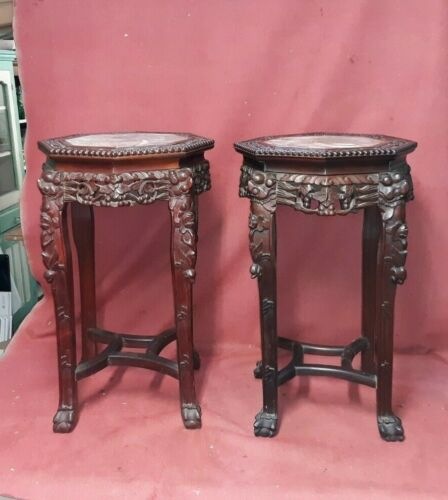 Pair Matching Antique Chinese Hardwood And Marble Pedestal Stands