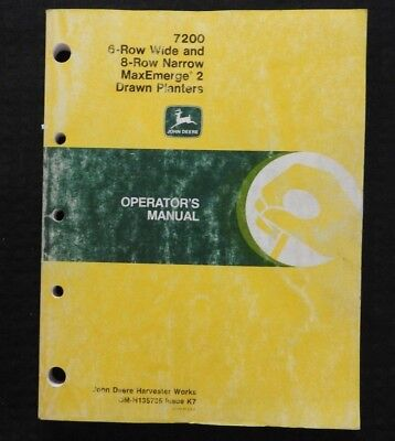 1987 John Deere 7200 6-row Wide 8-row Narrow Planter Operators Manual Good 1