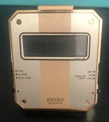 Vintage Mini Seiko Quartz Digital Folding Travel Alarm Clock QEK203F gold