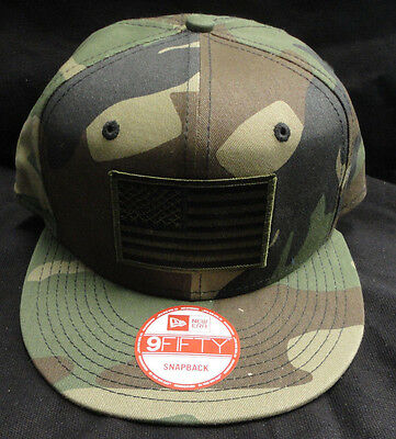 (New Era NE400 Flat Bill Camo Snapback Snap Back Cap  Green American Flag Patch)