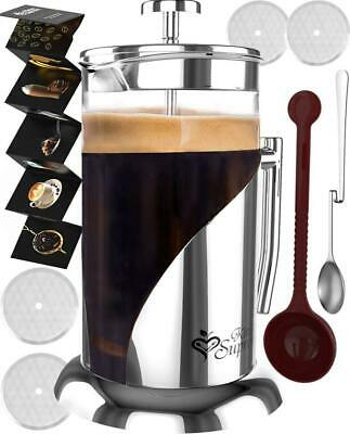 French Press Coffee & Tea Maker Complete Bundle 34 oz German Glass, spoons 8 cup