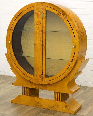 ART DECO MÖBELDESIGN runde GLAS VITRINE mit 2-TÜREN DISPLAY CABINET SCHAUVITRINE - Art-deco-möbel