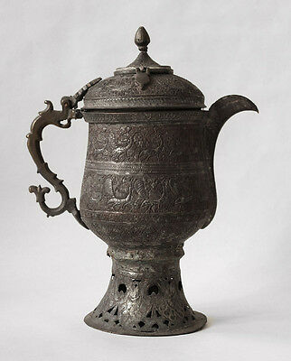 19th century Islamic KASHMIR bronze tea kettle with peacock designs