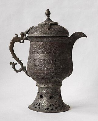 19th century Islamic KASHMIR bronze tea kettle with peacock designs