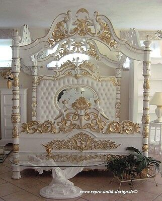 Himmelbett Bett Weiß Gold Barock Engel Barockbett Prunkbett Mahagoni Massivholz