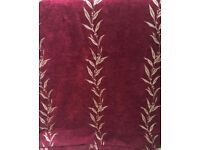 Luxurious heavy set of curtains. Deep burgundy/red and light gold. 310cms x 280 cms drop