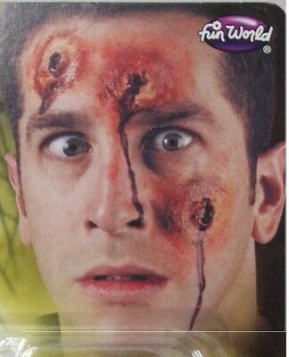 BULLET HOLES IN THE HEAD Wounds Prosthetic Scary Halloween Costume Bloody - Halloween Bullet Holes