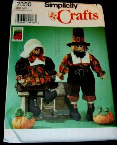 "Simplicity Craft Pattern 7350 Pilgrim Doll 28"" clothes 6 1/2 pumpkin uncut"