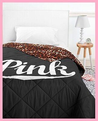 Victoria Secret Pink BED IN A BAG Black Leopard COMFORTER SHEET PILLOW CASE