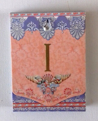 Magnetic FLIP TOP NOTE BOOK  Initial I SHELLS PINK LILAC & GOLD  Clear FAUX GEM  ()