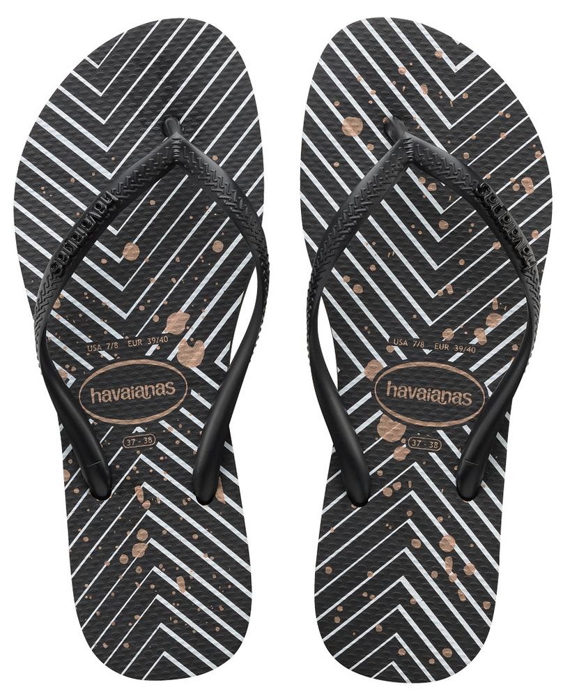 Havaianas Women`s Flip Flops Slim Logo Metallic Chevron Sand
