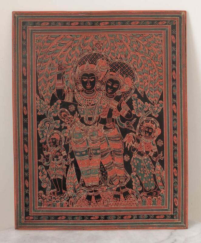 Old BURMA lacquerware tablet, mythological figures, dancers