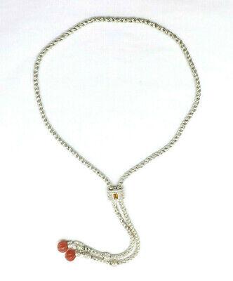 "Judith Ripka Sterling Silver Slide Lariat Necklace Carnelian & Citrine, 30"""