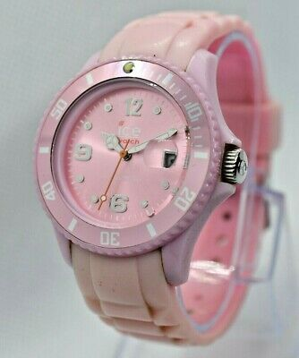 Women's ICE Watch, Pink, Rubber Straps, Date, Fashion Watch - New Battery - 40mm