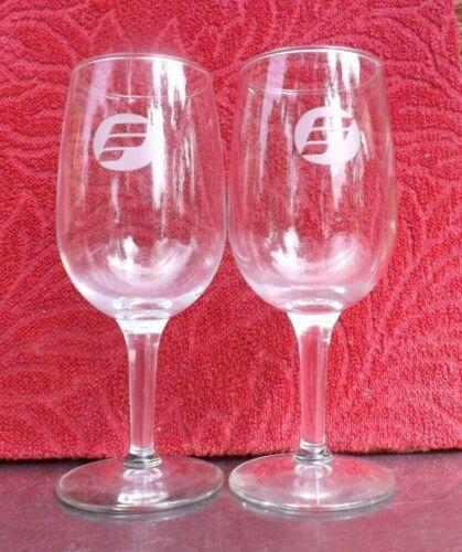 2 Vintage Original Frontier Airlines Wine Glass Goblet Aviation