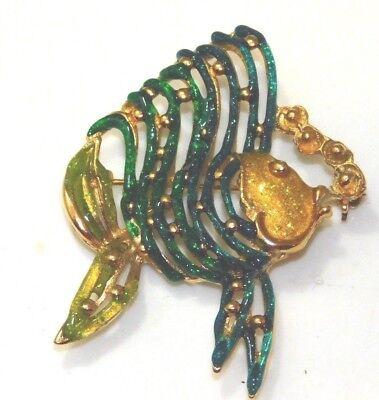 Vintage Kostüm Pfauentaube Gold Fisch Goldfisch Emaille Goldfarben Brosche (Taube Kostüm)