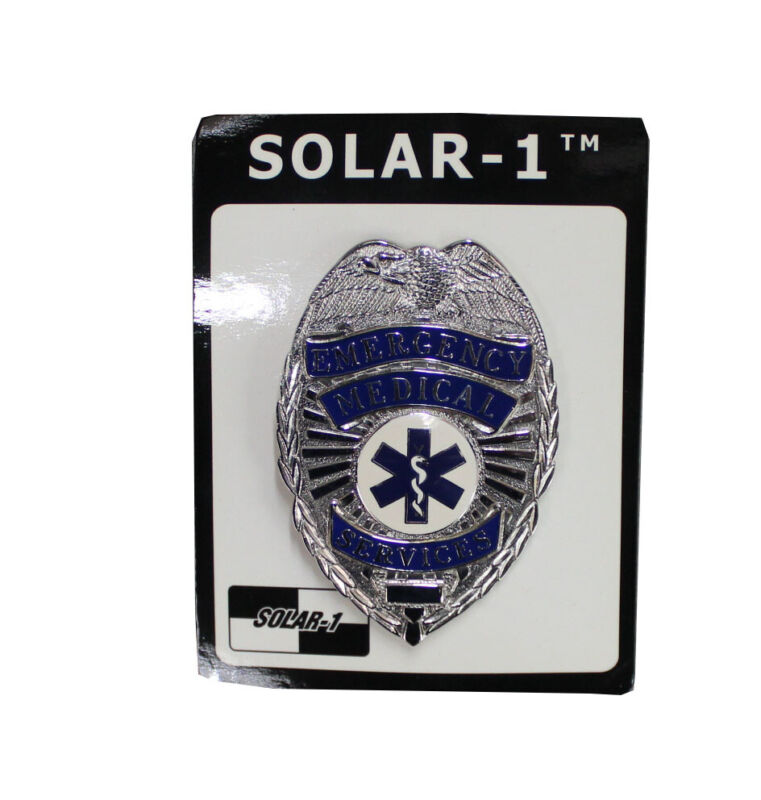 Silver/Blue Emergency Medical Services Badge by Solar 1
