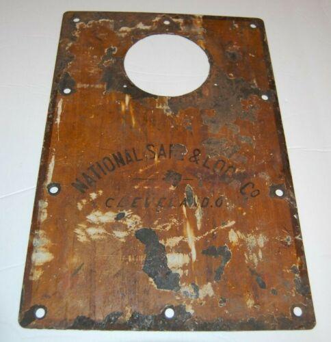 Large Antique Safe Name Plate Sign - NATIONAL SAFE & LOCK CO - Cleveland O