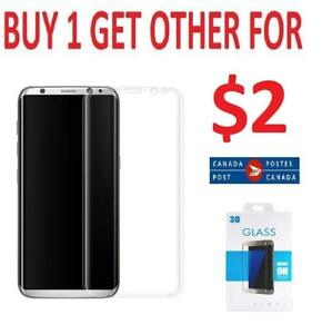 SAMSUNG GALAXY S8 PLUS SCREEN PROTECTOR CURVED TEMPERED GLASS 3D & S8 S8+ NOTE 8