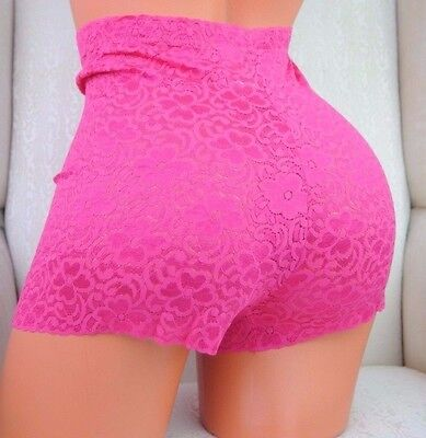 Vintage Style High cut Lace SHINY NYLON Shaping shorts SISSY Panties L XL
