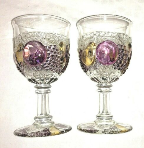 """DELLA ROBBIA WESTMORELAND FLASHED PAIR OF 6"""" WATER GOBLETS GLASSES #1058 GUC VTG"""