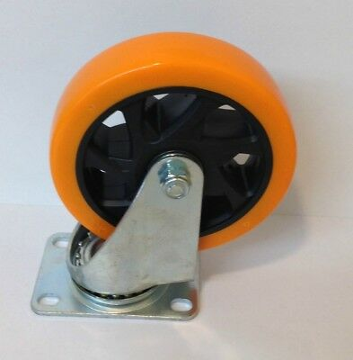 Lot Of 4 Heavy Duty 5 Inch Caster Plate Polyurethane All Swivel Wheels