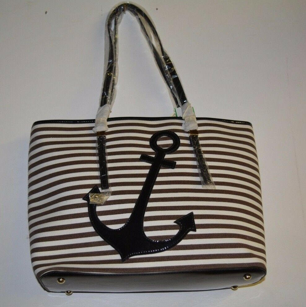 Alyssa Purse Anchor Brown and White Design Brand New Tote