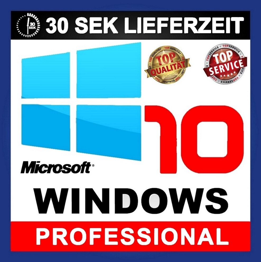 Microsoft Windows 10 Pro Vollversion ✔ AKTION 32 & 64 Bit Product-Key OEM Lizenz
