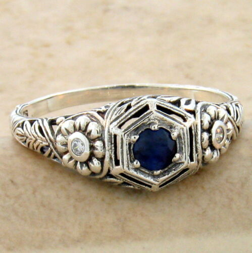 GENUINE SAPPHIRE NOUVEAU ANTIQUE STYLE 925 STERLING SILVER RING SIZE 7,     #960