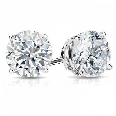 0.60 Carats F/VS1 GIA Round Brilliant Cut Diamonds Stud Earrings In 750 18K Gold 2
