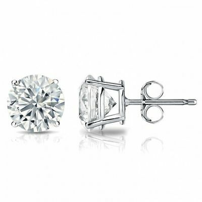 0.60 Carats F/VS1 GIA Round Brilliant Cut Diamonds Stud Earrings In 750 18K Gold 1