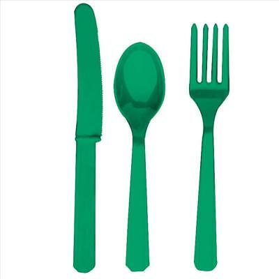 Green Fork Knife And Spoon Set - Plastic