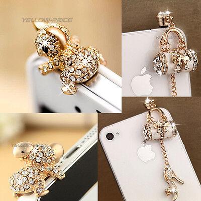 2pc Fashion Handbag Pretty Cute Koala Bling Diamond 3.5mm Anti Dust Plug Stopper