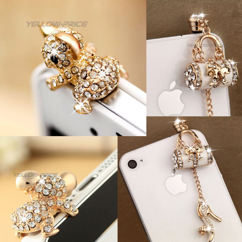 2pc Fashion Handbag Pretty Cute Koala Bling Diamond 3.5mm Anti Dust Plug Stopper