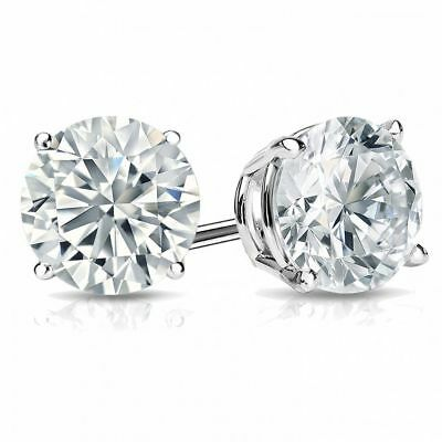 0.60 Cts F/VS1 GIA Natural Diamond Stud Earrings In Fine Hallmark 18K White Gold 1