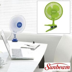 NEW SUNBEAM PERSONAL DESK/CLIP FAN - 109490413 - GREEN COOLING TABLE OR CLIP 2 SPEED SETTINGS