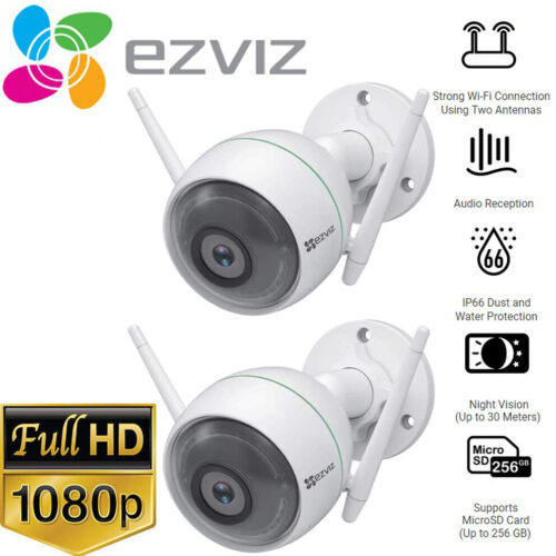 2x EZVIZ 1080p Outdoor WiFi Camera Weatherproof Smart Motion Detection C3WN