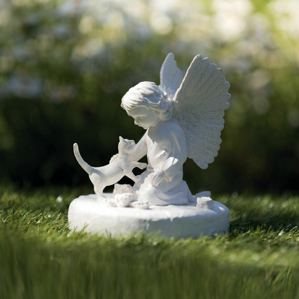 TRIXIE Gedenkstein Katze mit Engel Grabdeko Engelfigur Erinnerung-Stein