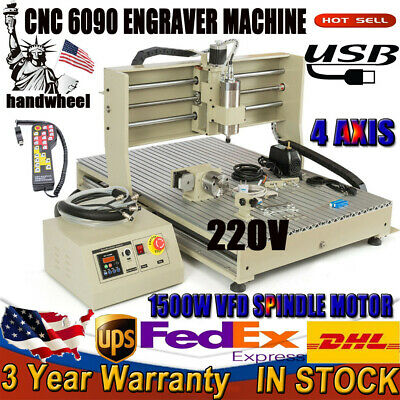 1.5kw Usb 220v 4axis 6090cnc Router Drill Engraver Engraving Machine Woodworking