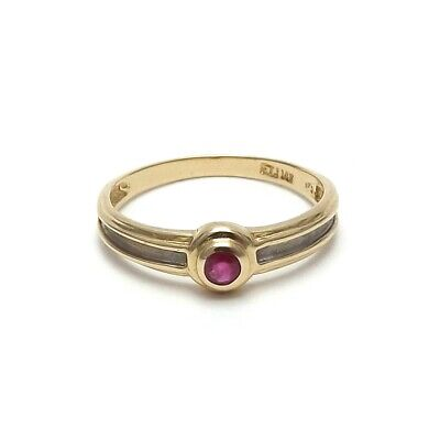 14K Two Tone Gold 2g Natural Ruby Bezel Modern Band Ring sz 6.5 Two Tone Gold Natural