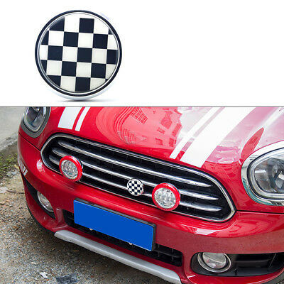 Checkered Flag Metal Front Grill Badge w/ Holder Fit MINI Cooper R50 R55 R56
