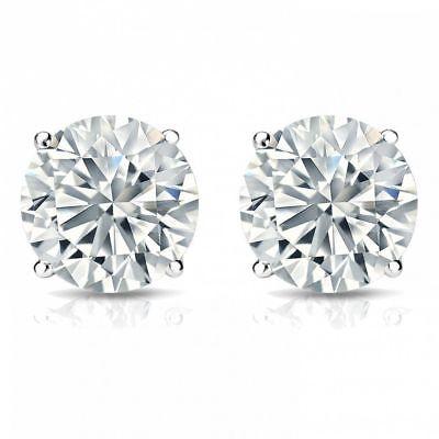 0.60 Carats F/VS1 GIA Round Brilliant Cut Diamonds Stud Earrings In 750 18K Gold