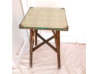 Side Table Antique Lloyd Loom glass top great condition
