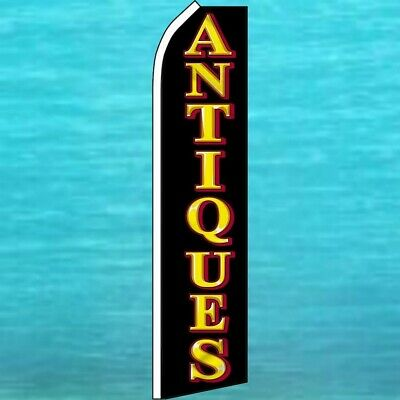 Antiques Flutter Flag Tall Curved Swooper Feather Advertising Banner Sign