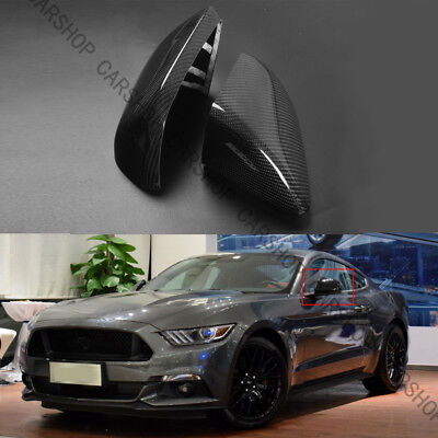 - Real Carbon Fiber Side Mirror Cover Fit F Ford Mustang GT W/O LED Signal 15-19