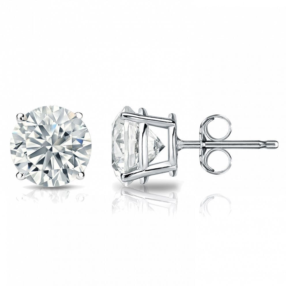 Classy 0.60 Cts F/VS1 GIA Natural Diamonds Stud Earrings In Solid 18K White Gold 1