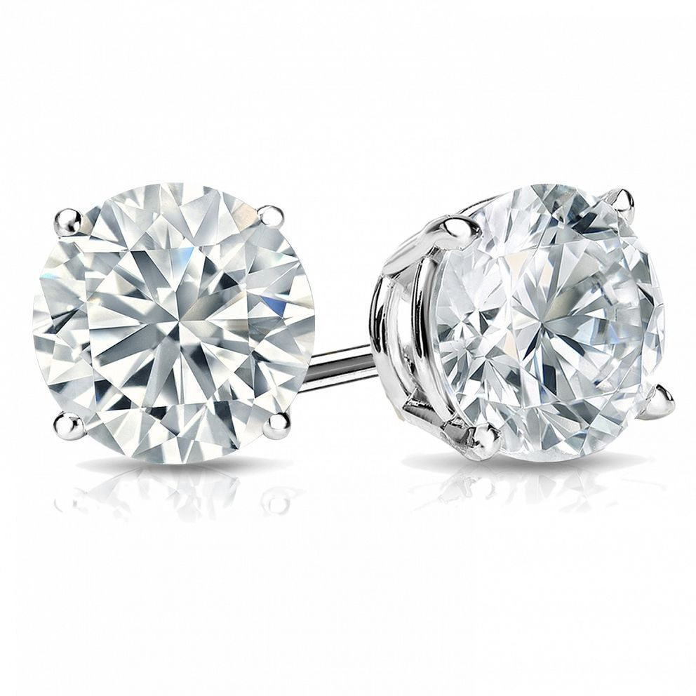 Classy 0.60 Cts F/VS1 GIA Natural Diamonds Stud Earrings In Solid 18K White Gold 2