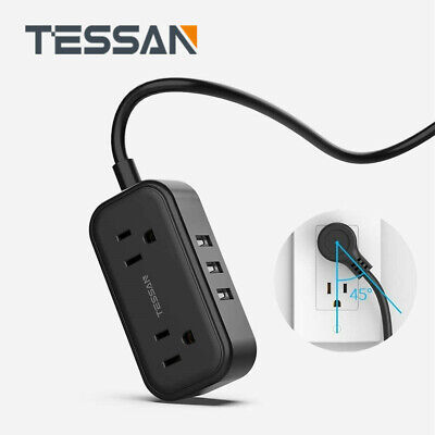 TESSAN Small Power Strip with 3 USB Charging Ports 5ft Extension Cord &Flat Plug
